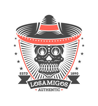Los amigos vintage isolated label with skull