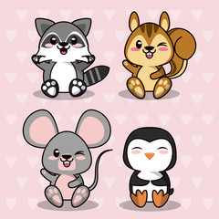 pink color background with hearts silhouettes with cute kawaii animals vector illustration