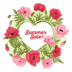 Summer sale card with red and pink poppy on green watercolor bac