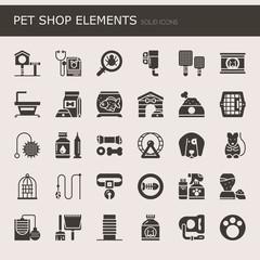 Pet Shop Elements , Solid Icons