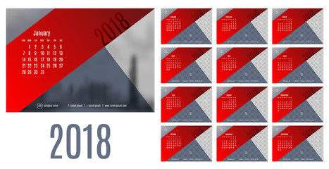 Vector of Calendar New year 2018 ,12 month calendar with modern red and blue triangle style,week start at Sunday,Template for place your photo