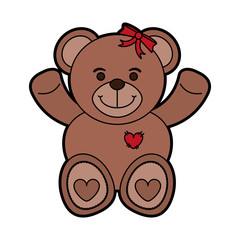 girly teddy bear baby or shower related  icon image vector illustration design