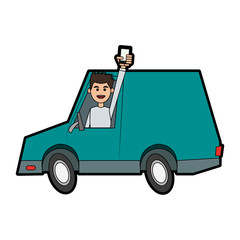 happy man holding cellphone while driving car icon image vector illustration design