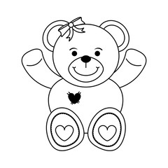 girly teddy bear baby or shower related  icon image vector illustration design  black line