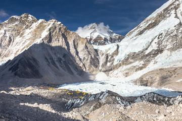 Everest Base Camp situated on Khumbu Glacier. EBC is also a common base camp of Lhotse. Himalaya mountains, Sagarmatha National Park, Nepal.