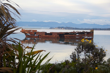 Abandoned ship in the coast of Port Motueka