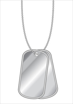hanging stainless steel dog tag vector on a white background