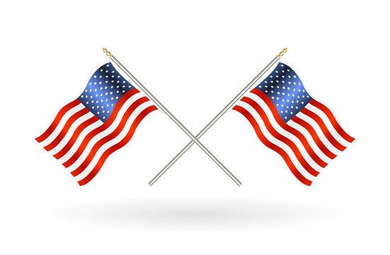 cross united states of america flag on a white background