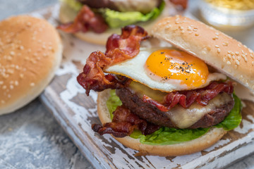 Bacon Burger with Egg Lettuce and Cheese