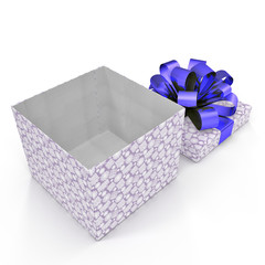 Blue gift-box with ribbon bow on white. 3D illustration
