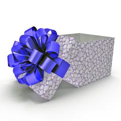 Empty blue gift box on white. 3D illustration