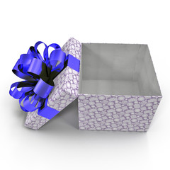 Empty Square blue giftbox on white. Side view. 3D illustration