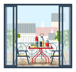 Interior of balcony, table and chairs, potted trees. Beautiful scenery, view of city from open door. Colorful vector illustration in flat style.