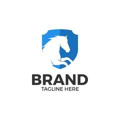 horse shield icon vector logo