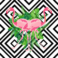 Hand drawn pink flamingo with tropical leaves in mirror image style on geometric background.