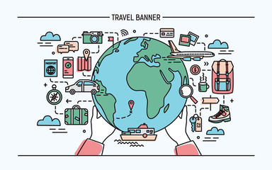 Concept of travel and tourism. Horizontal advertising banner with earth, globe, transport, things necessary traveler. Colorful vector illustration in lineart style.