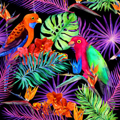 Tropical leaves, exotic flowers, parrot birds in neon. Repeating jungle pattern. Watercolour