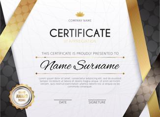 Certificate template with golden decoration element. Design diploma graduation, award. Vector illustration.