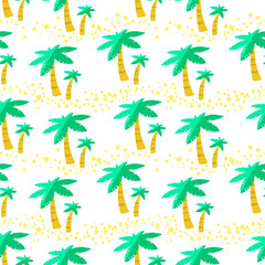 Seamless pattern with palms. Background with tropical plants.
