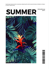 Floral vertical summer postcard design with guzmania flowers, monstera and royal palm leaves. Exotic hawaiian vector background.