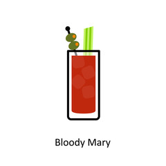Bloody Mary cocktail icon in flat style