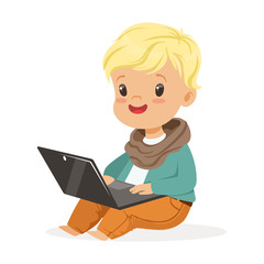 Cute little boy sitting and using laptop for playing. Child and modern technology colorful cartoon character vector Illustration