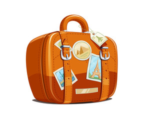Suitcase for travel with stickers. Touristic baggage. Vintage