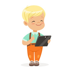 Smiling little boy using digital tablet for playing. Child and modern technology colorful cartoon character vector Illustration