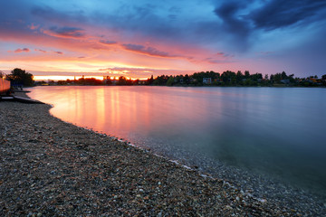 Wall Mural - Lake sunset in Slovakia city Senec