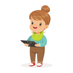 Cute little girl standing and using digital tablet for playing. Child and modern technology colorful cartoon character vector Illustration
