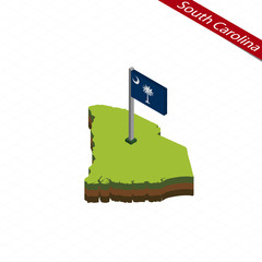 South Carolina Isometric map and flag. Vector Illustration.