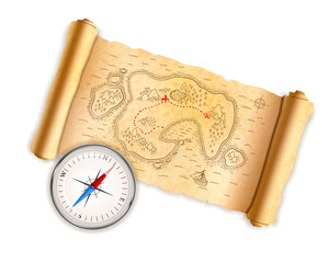 Ancient pirate map on old paper with glossy compass isolated on white