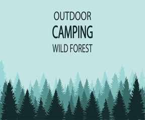VECTOR background: outdoor camping wild forest
