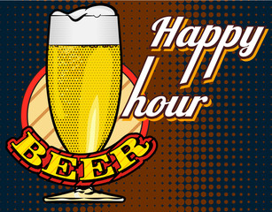 Beer glass and halftone dots background. Vector image.