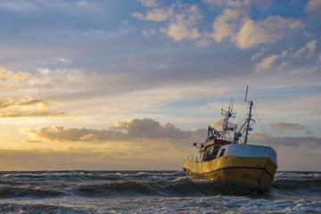 Seascape, sunset over the sea