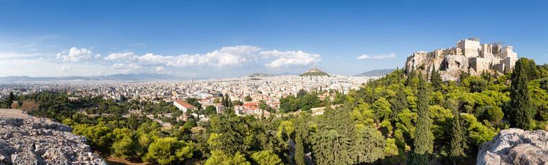 Fotomurales - Athen Panorama mit Blick auf Akropolis und Lykabettus Hügel