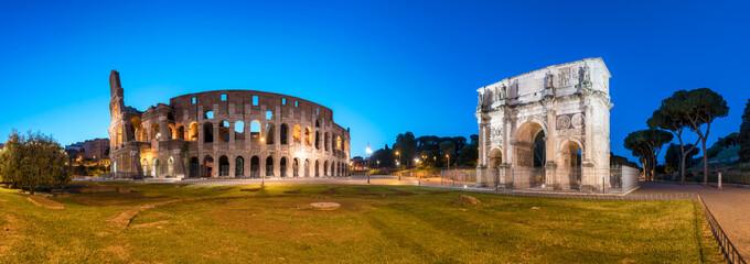 Poster de jardin Rome Kolosseum und Konstantinsbogen in Rom, Italien