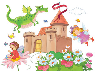 Fairy tale. Coloring book. Coloring page. Illustration for children. Funny cartoon characters