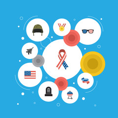 Flat Ribbon, Soldier Helmet, Medallion And Other Vector Elements. Set Of Memorial Flat Symbols Also Includes Memorial, Rip, Usa Objects.
