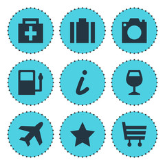 Vector Illustration Of 9 Check-In Icons. Editable Pack Of Briefcase, Drugstore, Bookmark And Other Elements.