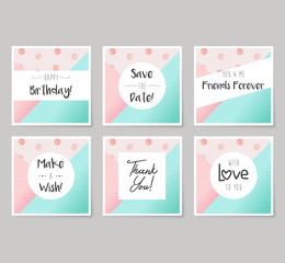 Set of vector birthday and greeting cards design