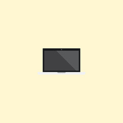 Flat Laptop Element. Vector Illustration Of Flat Monitor Isolated On Clean Background. Can Be Used As Monitor, Laptop And Screen Symbols.