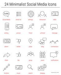 24 social media icons for presentations and HR
