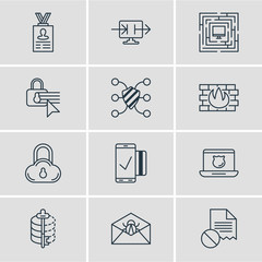 Vector Illustration Of 12 Protection Icons. Editable Pack Of Account Data, Data Security, Confidentiality Options And Other Elements.