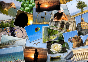 Mosaic collage mix travel in summer 2015 with pictures of different places, landscapes and objects shot by myself filtered