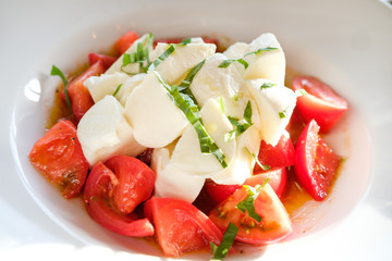 salad caprese with mozzarella cheese