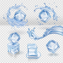 Transparent vector water splash and ice cubes realistic, 3d vector set