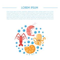 Vector cartoon background with underwater life animals