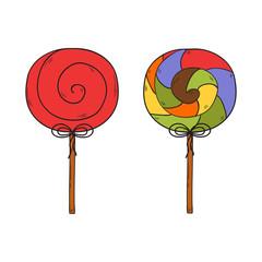 Vector cartoon hand drawn lollipops