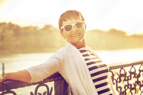 portrait of a happy attractive mature senior woman 50 years old at